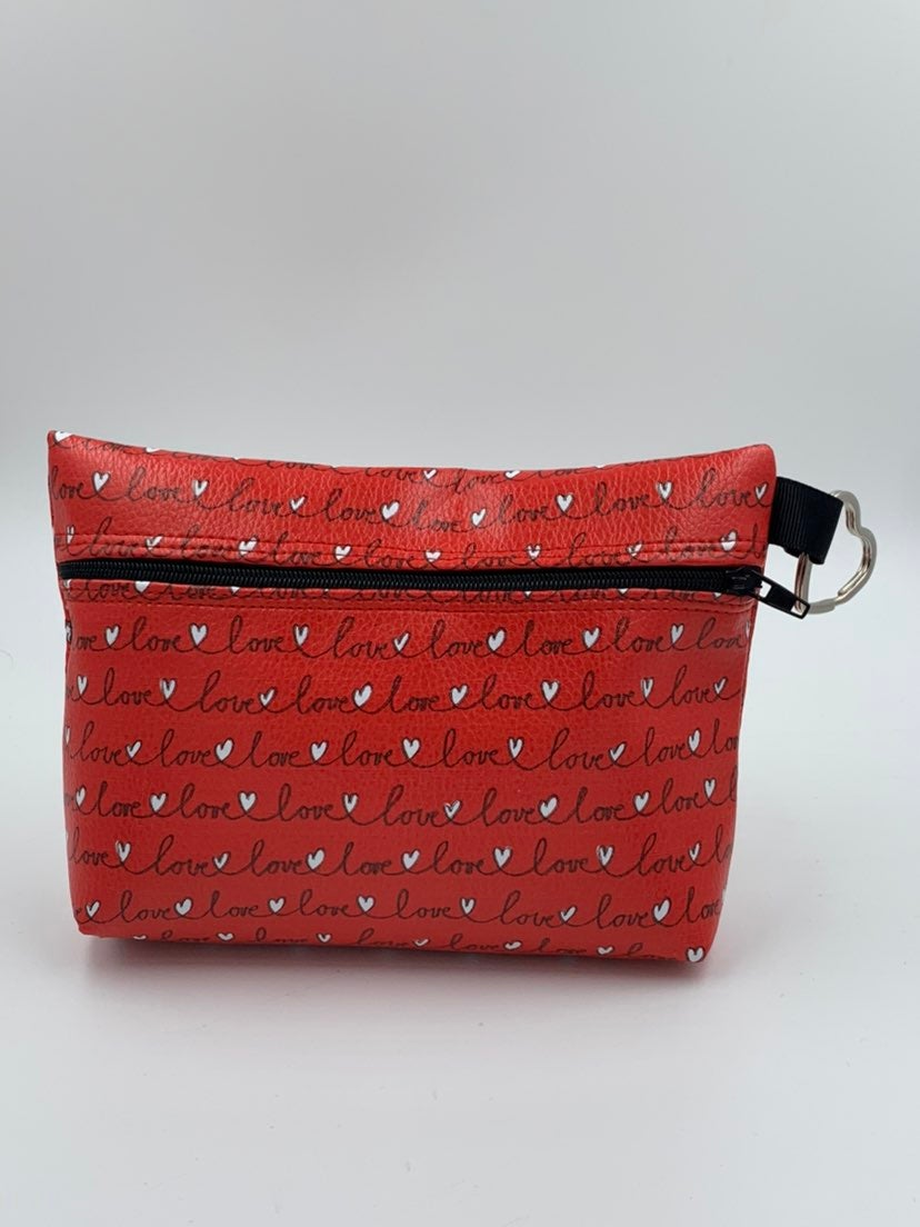 LOVE Faux Leather Cosmetic Bag