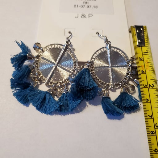 Silver Earrings with feather fringe