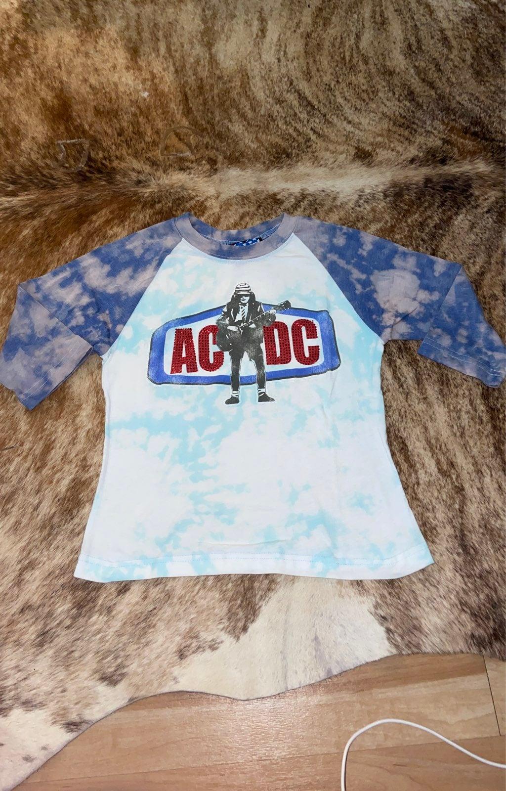 Women's AC/DC Mid Sleeve Bleached Tee
