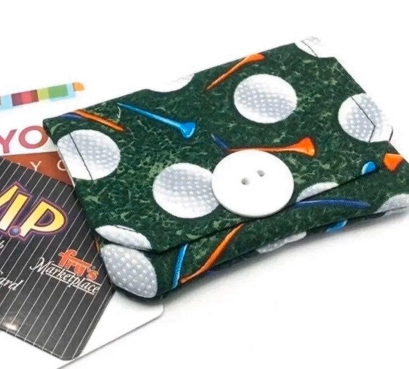 Golf Ball Fabric Card Wallet- Handmade