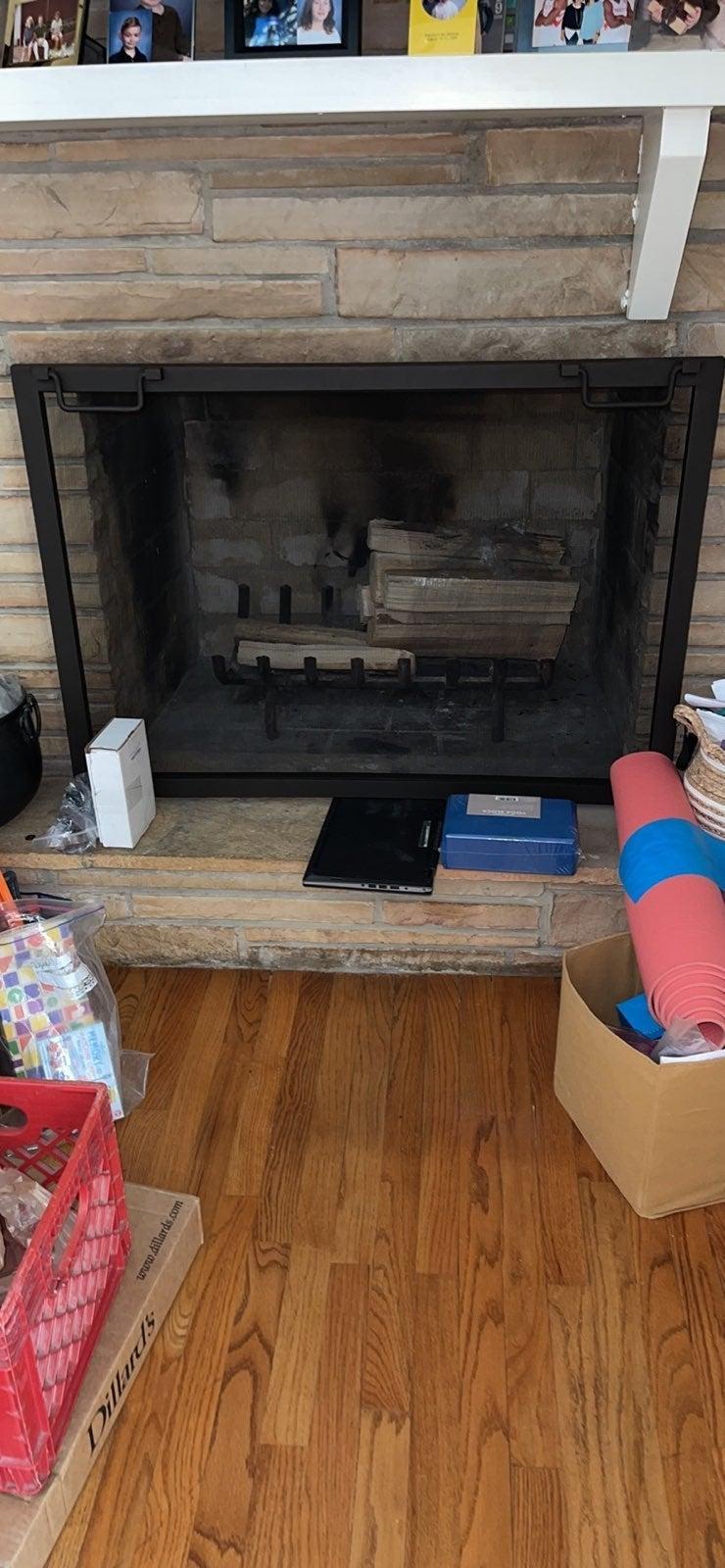 """Industrial Fireplace 44"""" Single Screen,"""
