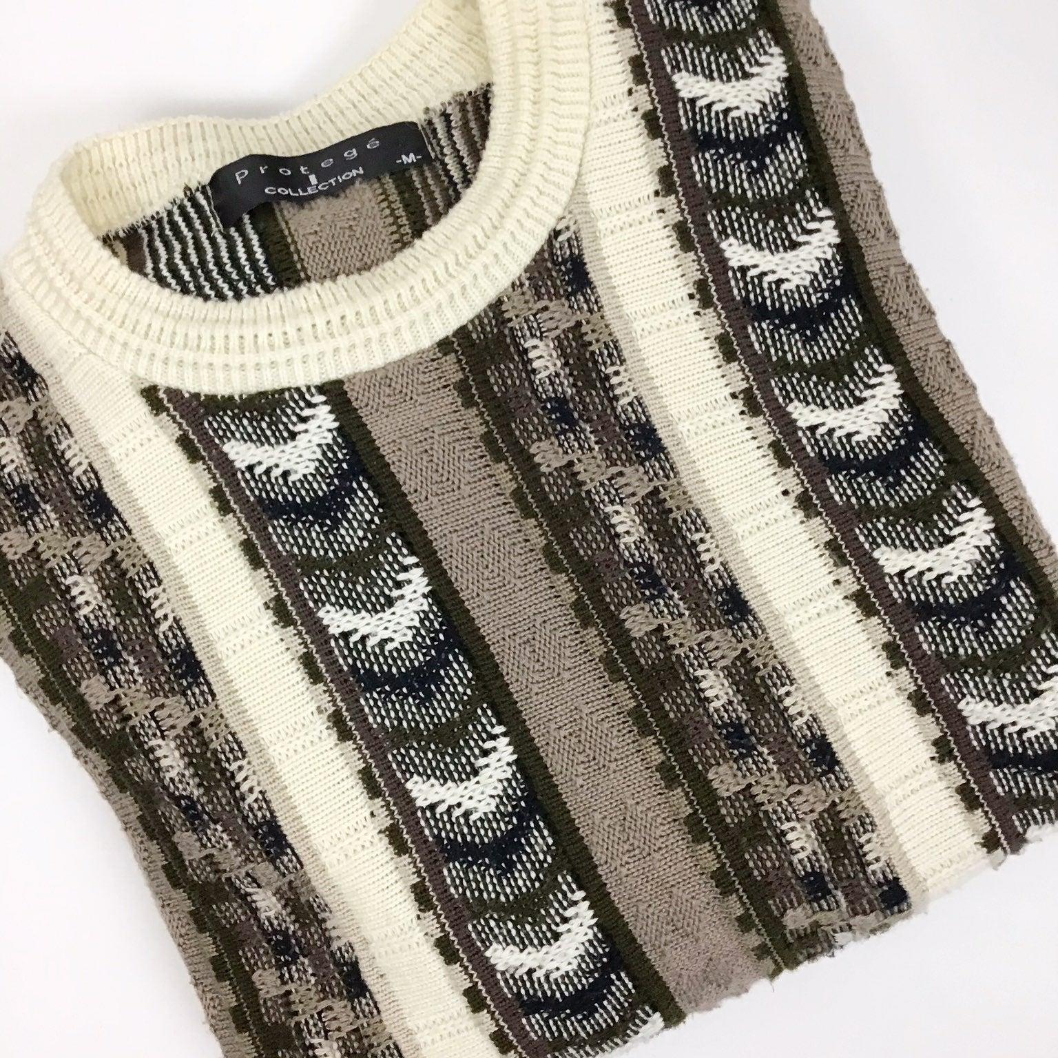 protege green & brown grandpa sweater m