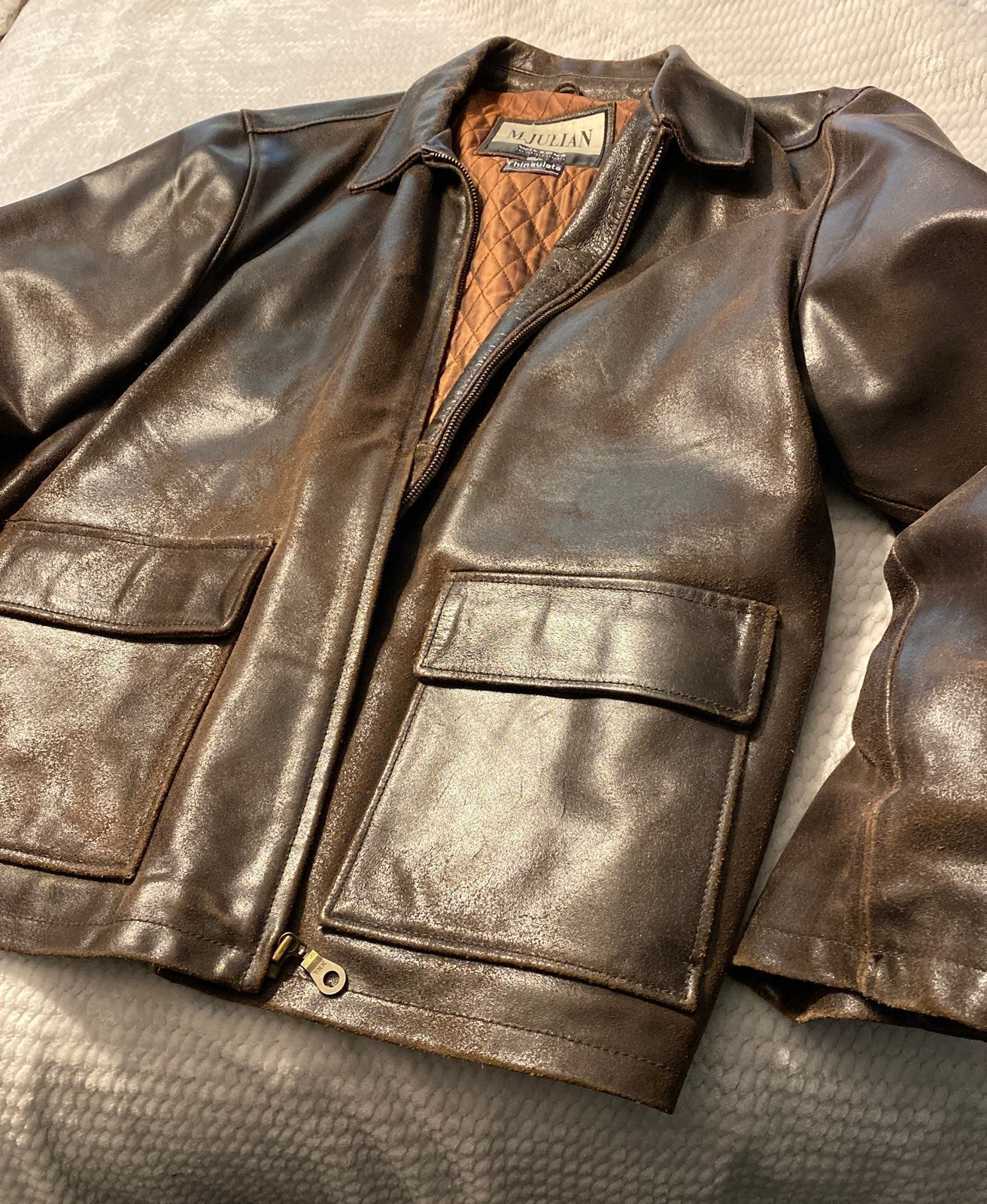Brown Leather Insulated Coat