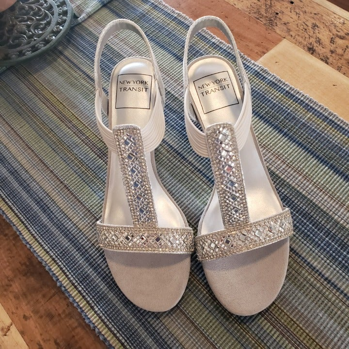 Womens Silver Rhinestone Sandals