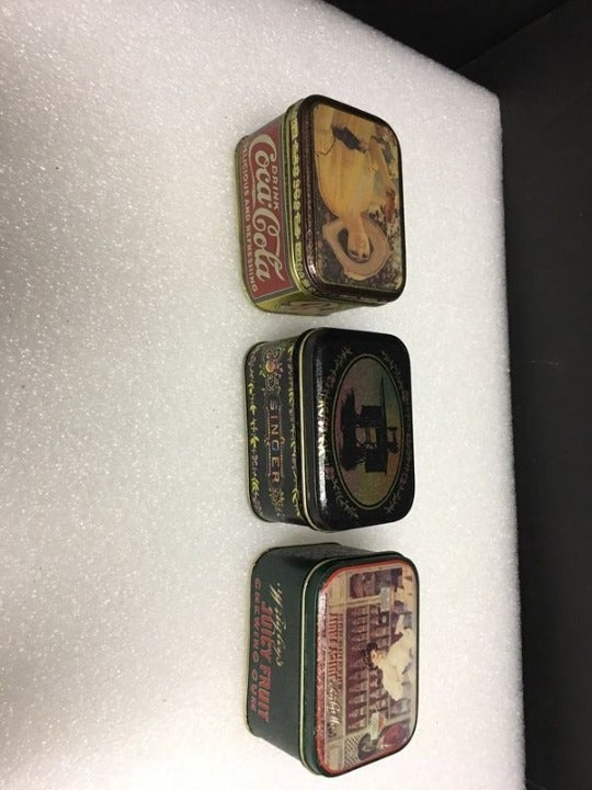 Lot of 3 Retro 1993 Tin Canisters - Coke