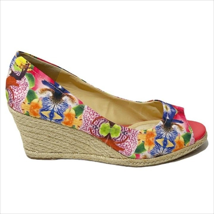 Alex Marie Peep Toe Pink Floral Sandal