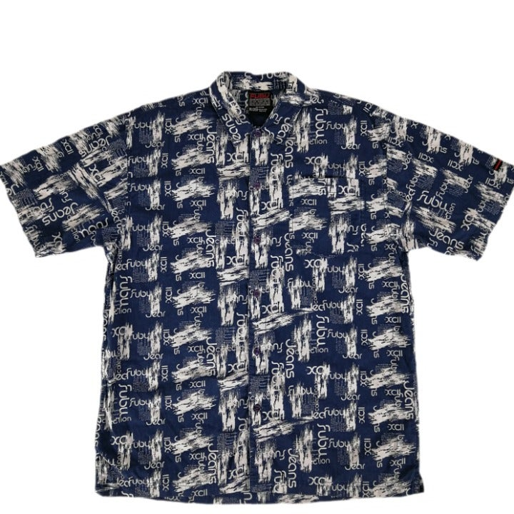 Fubu Men's XL Short Sleeve Blue Shirt