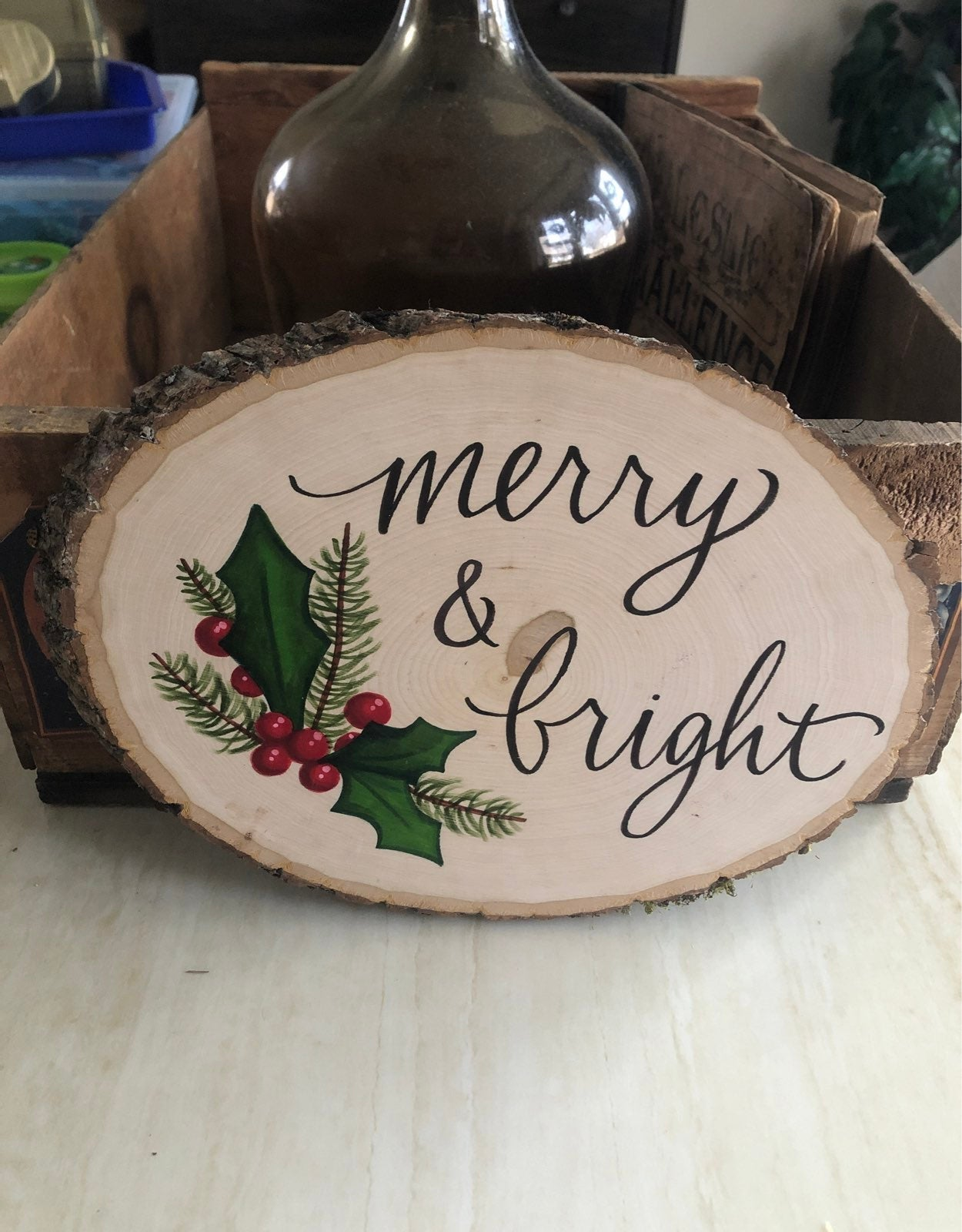 Merry and bright wooden tree slab