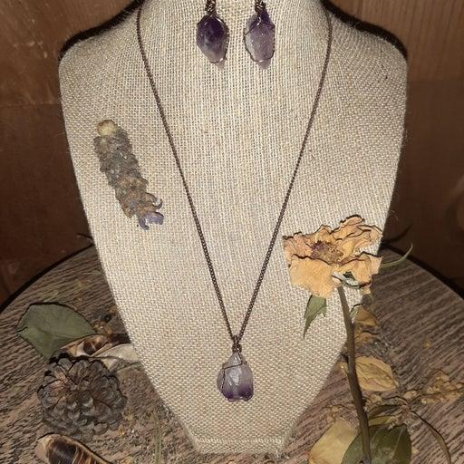 Amethyst Quartz Crystal Necklace and Ear