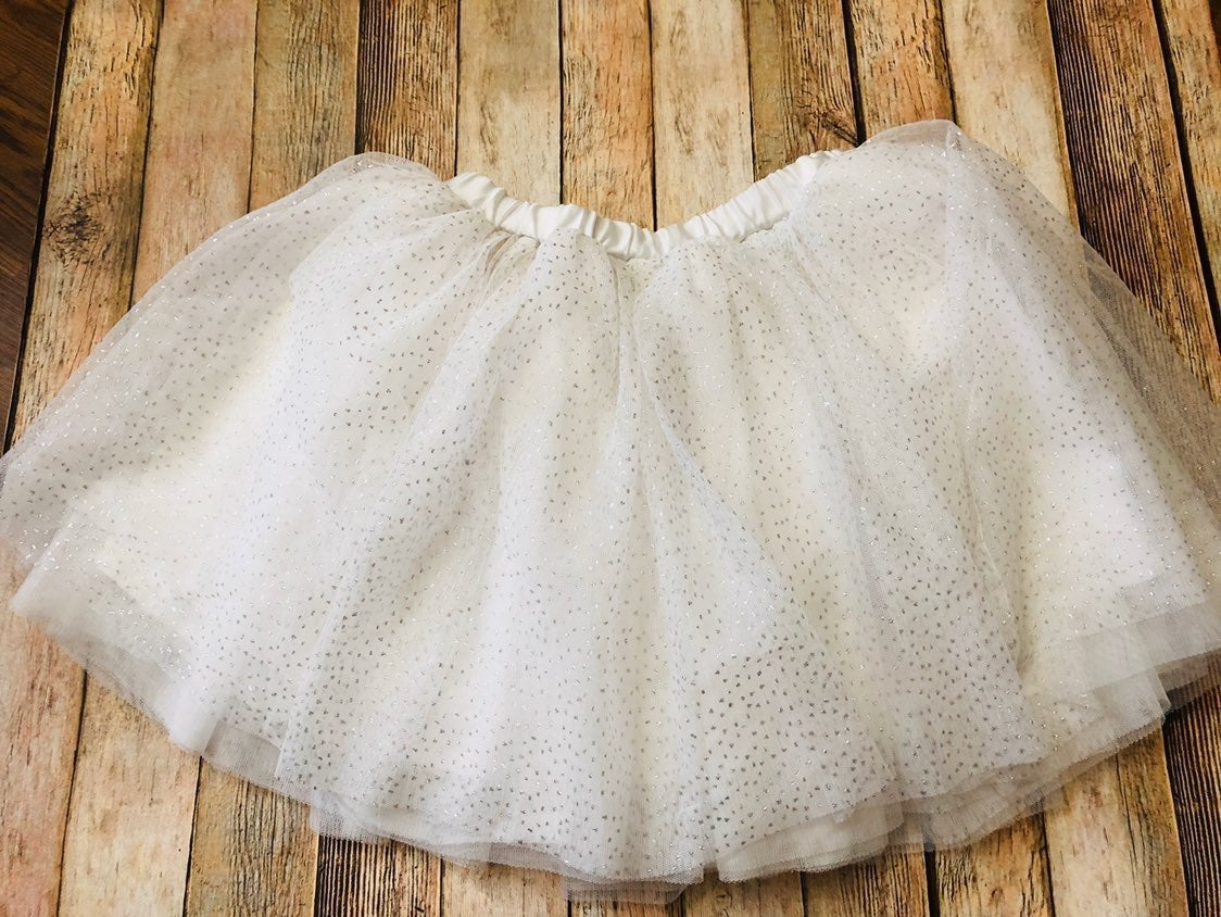 Girls tutu white and silver