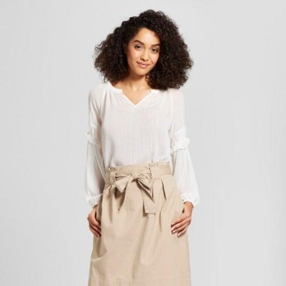 NEW! Sheer Boho White/Gold Blouse XL