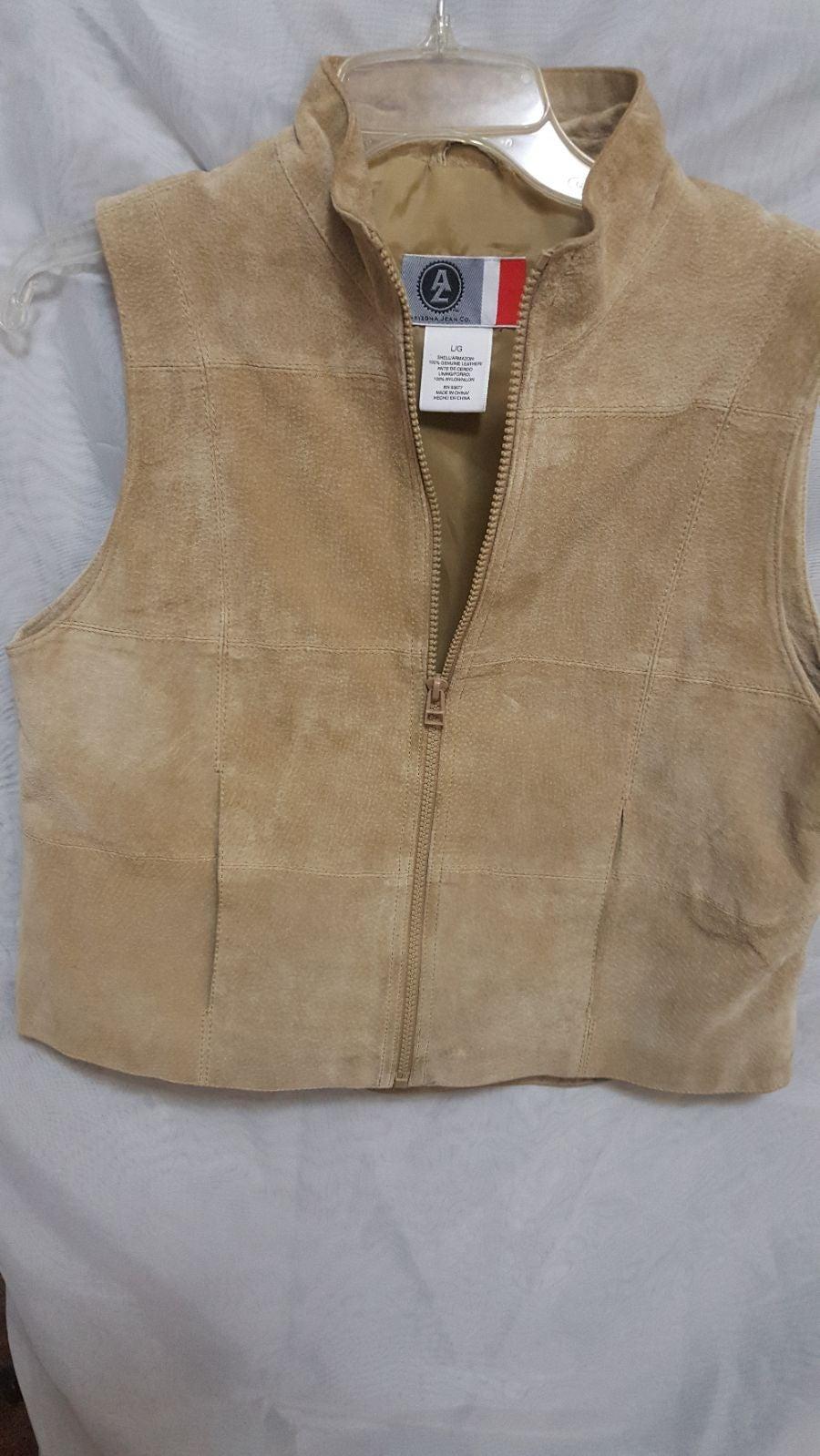 Genuine Suede Leather Vest Beige Sz L
