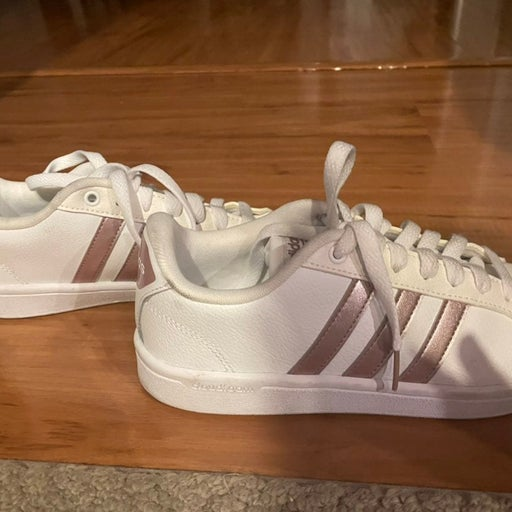 Adidas womens size 7 rose gold superstar shoes