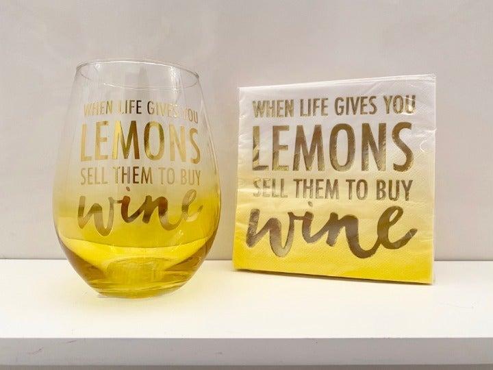 Lemons & Wine-Wine Glass & Napkin Set