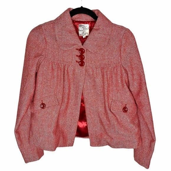 Anthropologie Herringbone Crop Jacket S