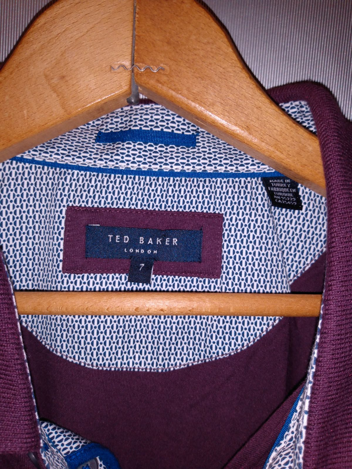 TED BAKER Mens POLO SHIRT SIZE 7 Purple