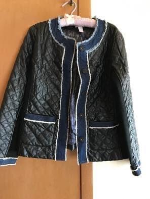 Chicos Faux Leather Denim Trim Jacket