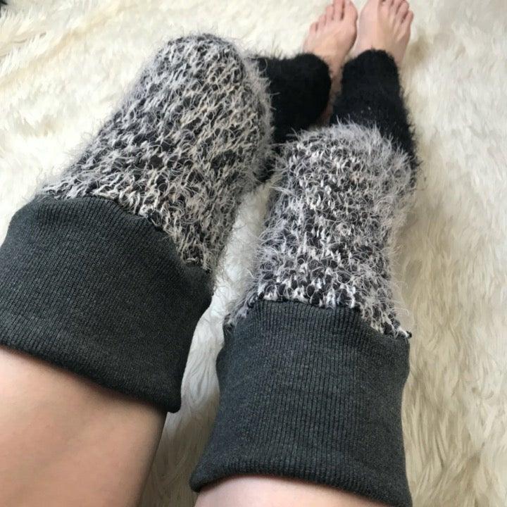 Black Ombre Fuzzy Leg Warmers Thigh Sock