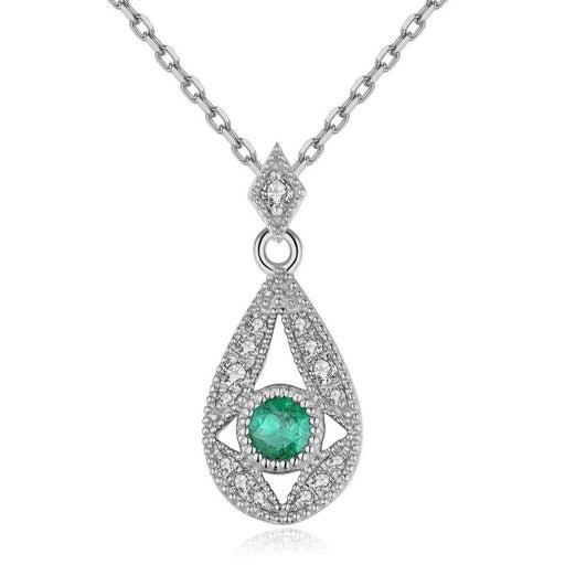 Real Diamond Pear Style Emerald Pendant
