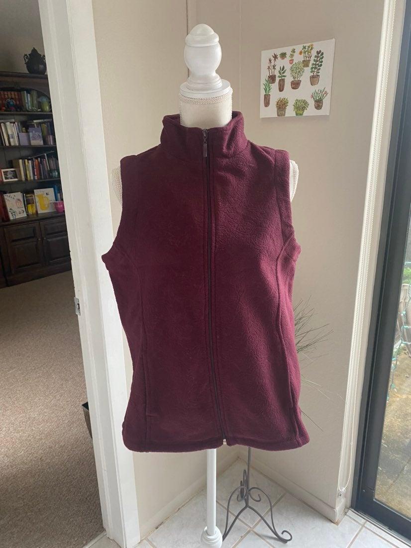 Burgundy Fleece Vest Size Large