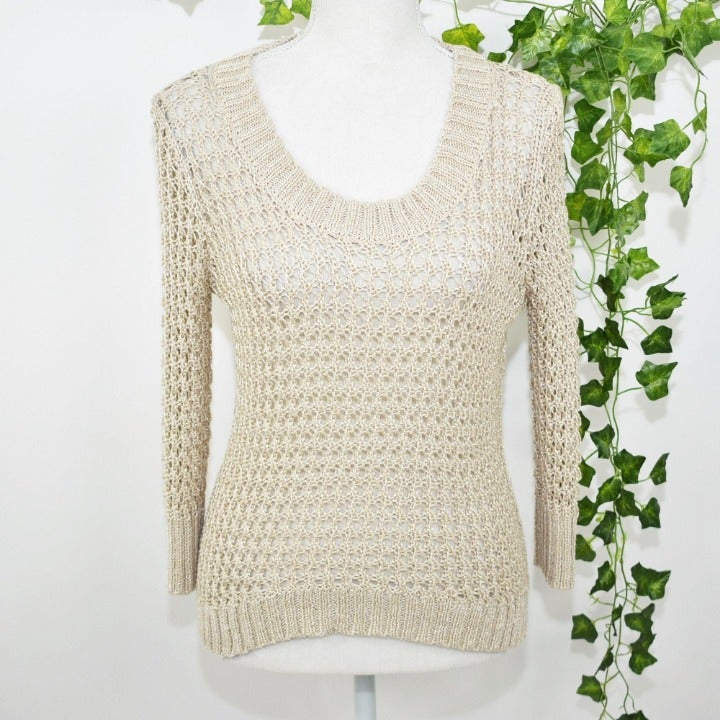 Wet Seal beige knitted sweater blouse S