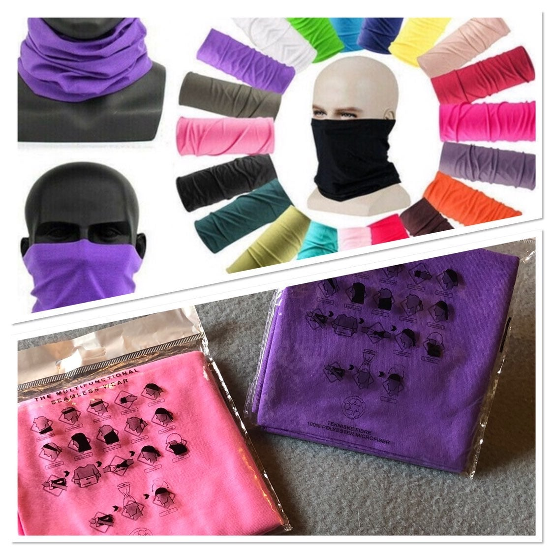 Two (Pink & Purple) Face Coverings/Masks