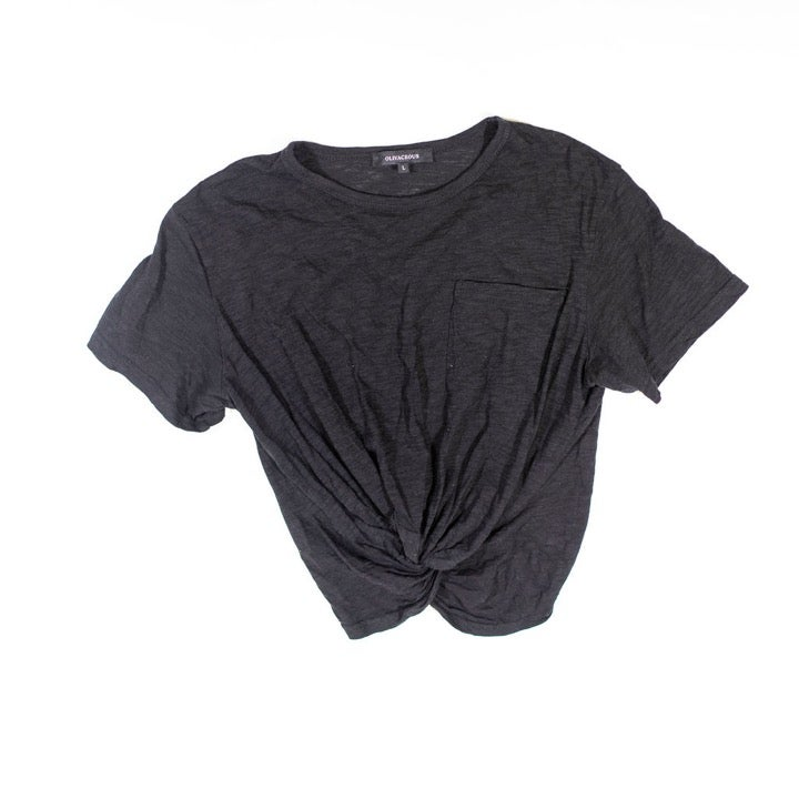 Olivaceous Twist Knot Front Cropped Tee