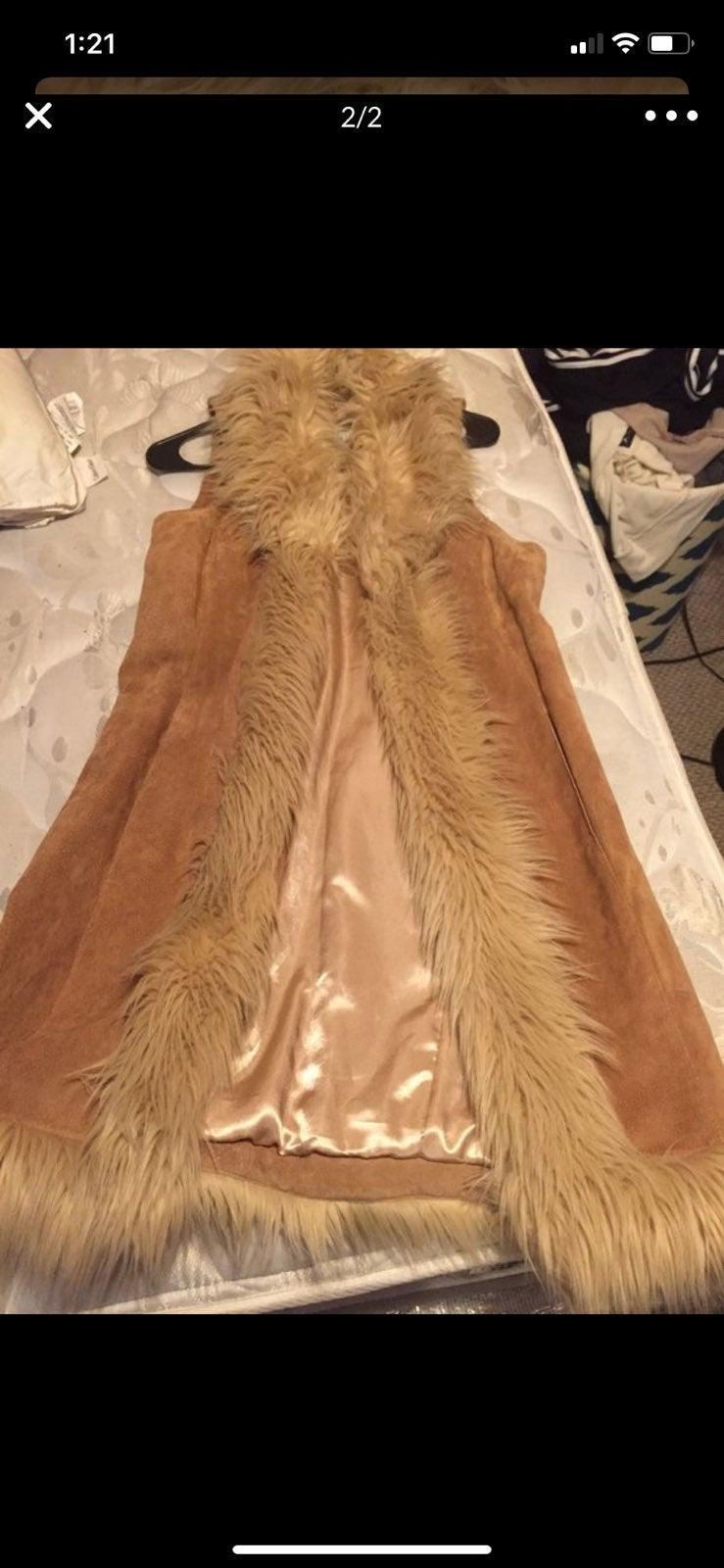 Womens suede long vest