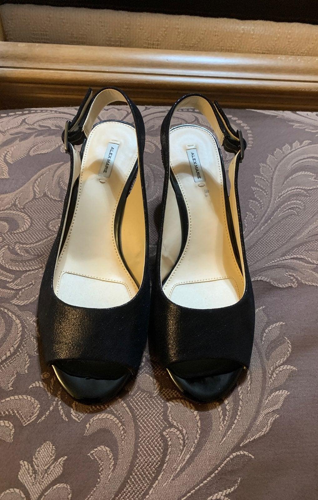 Alex Marie Leather Open Toe Wedge Heel