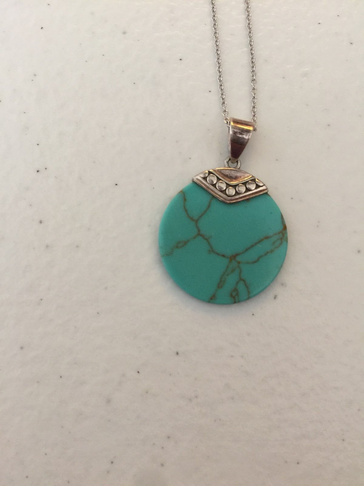 SS Turquoise Disk Necklace