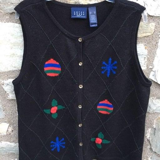 Crazy Horse Christmas Knit Vest Cardigan