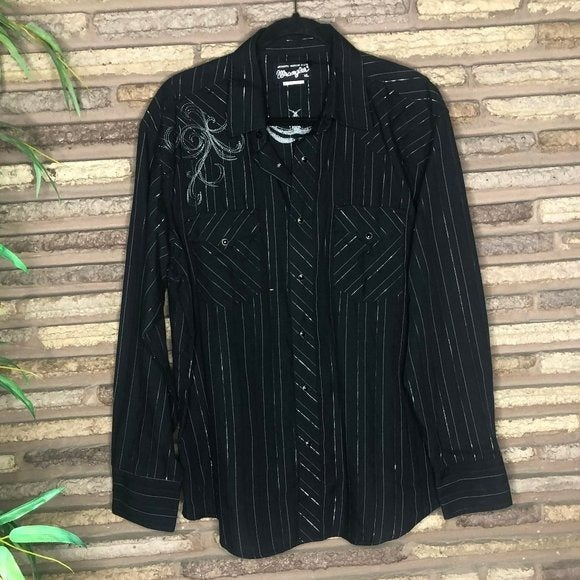 Wrangler Western Embroidered Black Shirt