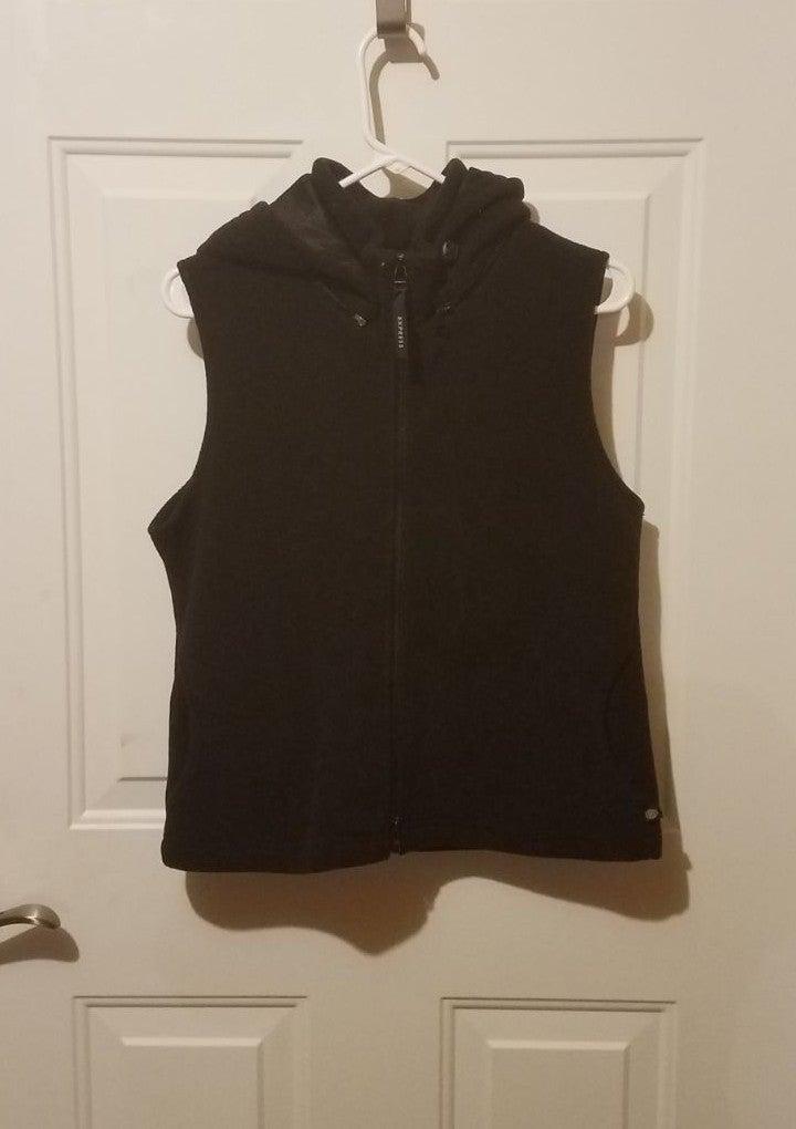 Express medium black hooded vest