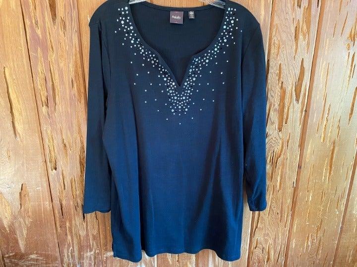 Rafaella Black Shirt Rhinestones  XL