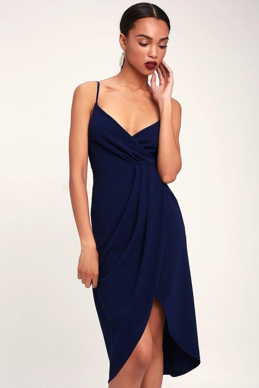 Lulu's Navy Blue Surplice Midi Dress