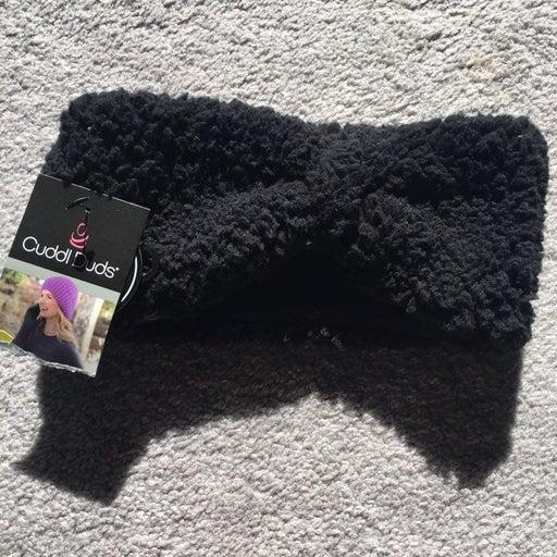 Fuzzy and warm black headband/ear warmer