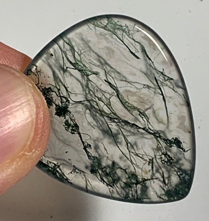 #155 Moss Agate Guitar Pick + Display