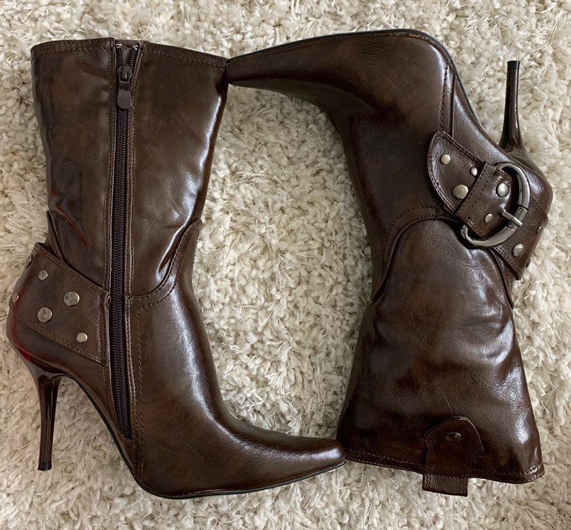 BRAND NEW Brown Buckled Boot Heels
