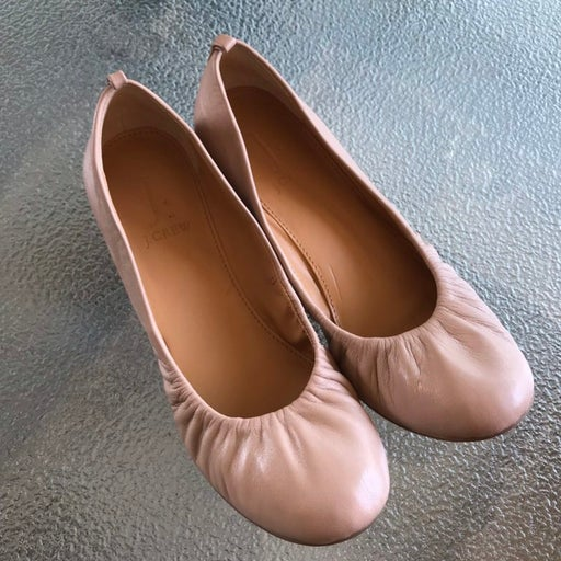 Leather Nude Pink Flats 8