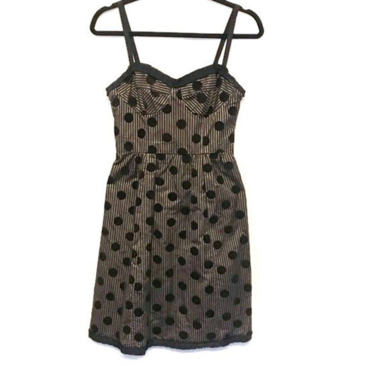 Black Gold Sweetheart Stripe Dot Dress