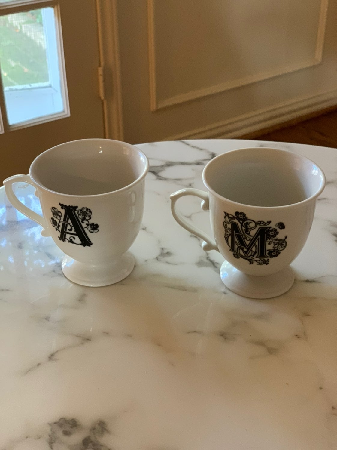 Anthropologie A and M initial tea cups