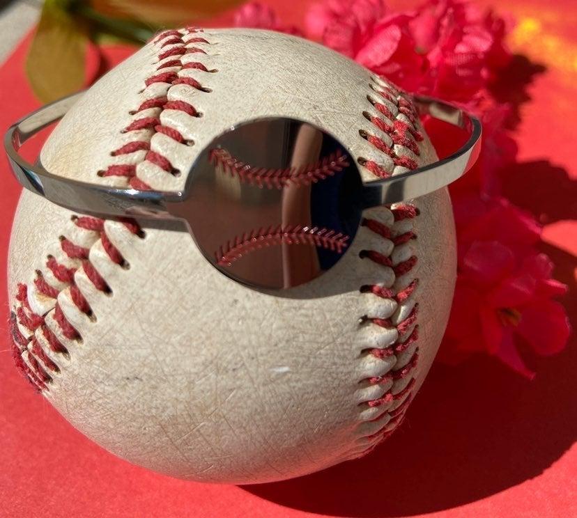 Baseball skinny metal cuff