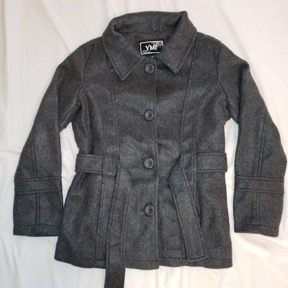 Faux-Wool Lightweight Grey Peacoat - S