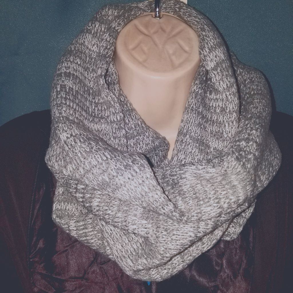 Candies Grey & White Knit Infinity Scarf