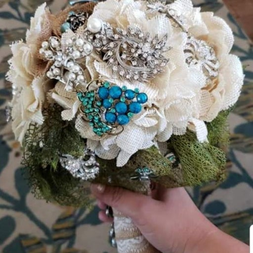 Burlap vintage blue w/ pearls and crysta