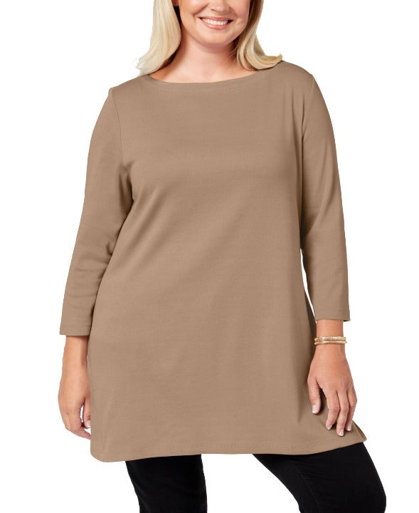 Karen Scott Plus Size Tunic, Brown 1X