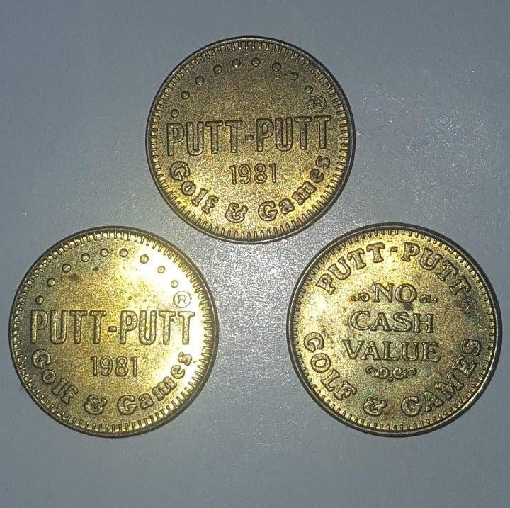 "3 Putt Putt No ""Plus"" Game Tokens Coins"