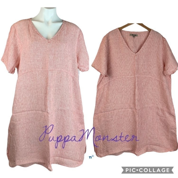 New FLAX Linen Tee Shirt Dress L Red