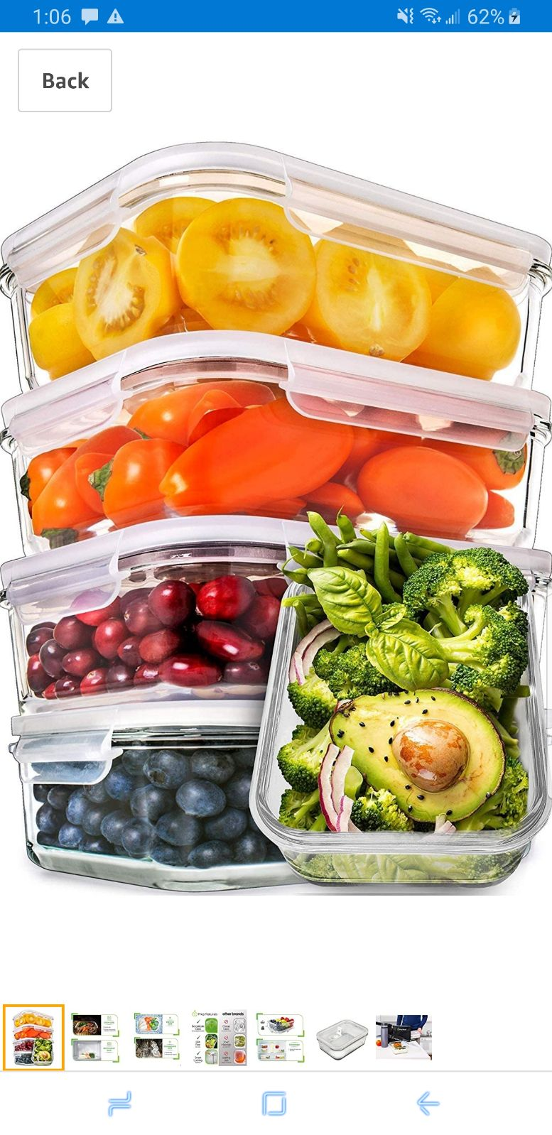 Glass Meal Prep Containers w/lids NEW