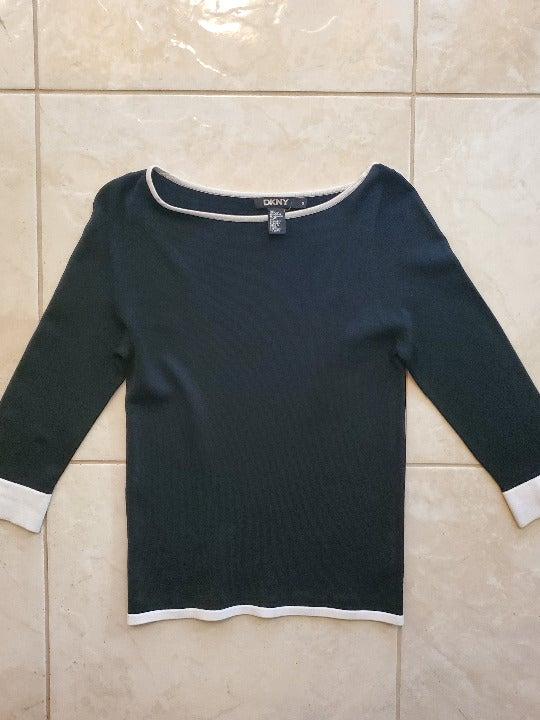 DKNY Black w/ White Knit Top - Size S